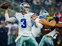 Dallas Cowboys quarterback Mike White (3) throws a pass during the first half of an NFL preseason football game against the Tampa Bay Buccaneers at AT&T Stadium on Thursday, Aug. 29, 2019, in Arlington.