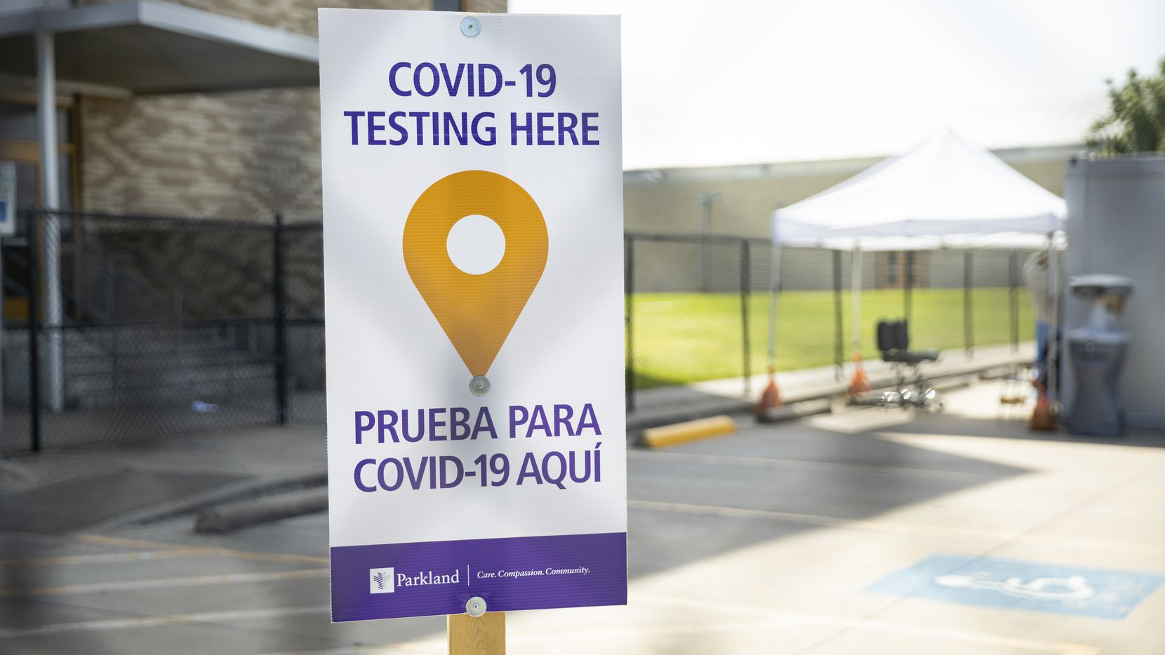 Parkland COVID-19 testing sign at Sam Tasby Middle School on July 3, 2020 in Dallas. (Juan Figueroa/ The Dallas Morning News)