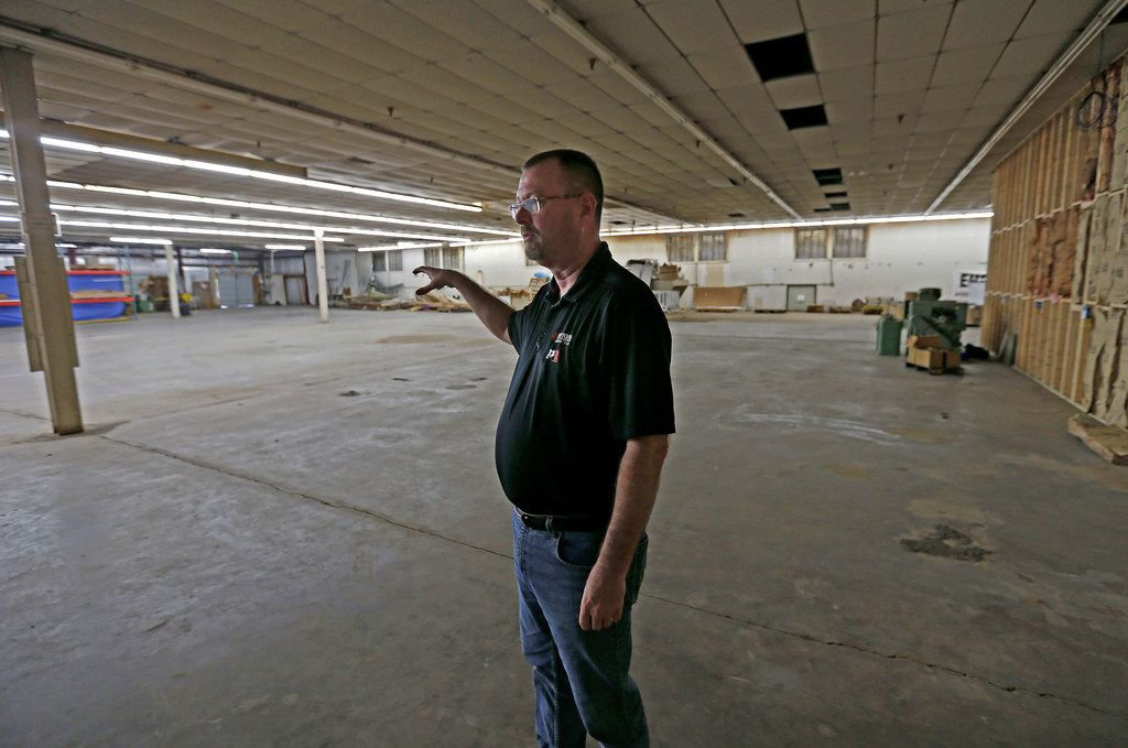 Gary Phillips, co-owner of American Precision Ammunition, talks about his company plans inside the Peach Building that is under renovation in Mineral Wells.