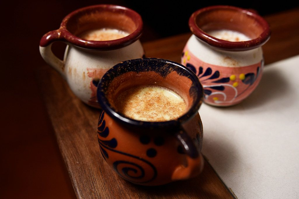 Curados de pulque, a Mexican alcoholic beverage made from fermented maguey sap,  is blended with seasonal flavors at La Viuda Negra. a new speakeasy-style bar in Dallas. Seen here are pistachio, guava and peanut.