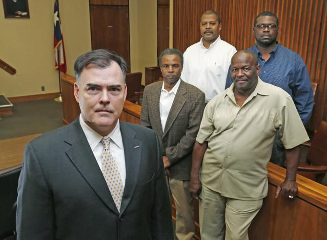 """Allen Vaught (left),  a partner at Baron & Budd, is representing (behind Vaught, from left) truck drivers Darren Henry, Ronald Mills, Willie McKinney and Marcello Benton in a class-action hour-and-wage lawsuit against Native Oilfield Services. The number of potential clients calling Vaught """"is more than I have the time and resources to accept."""""""