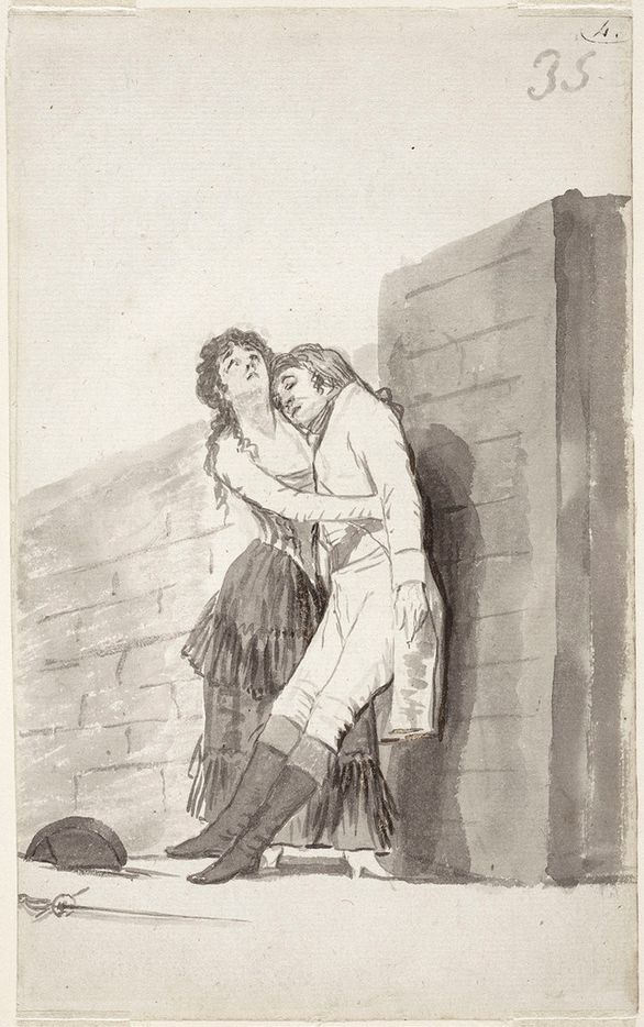 Francisco de Goya y Lucientes Woman Holding Up Her Dying Lover, double-sided drawing from Album B (Madrid Album)