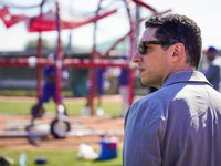 Texas Rangers general manager Jon Daniels looks on during a spring training workout at the team's training facility on Saturday, Feb. 15, 2020, in Surprise, Ariz.