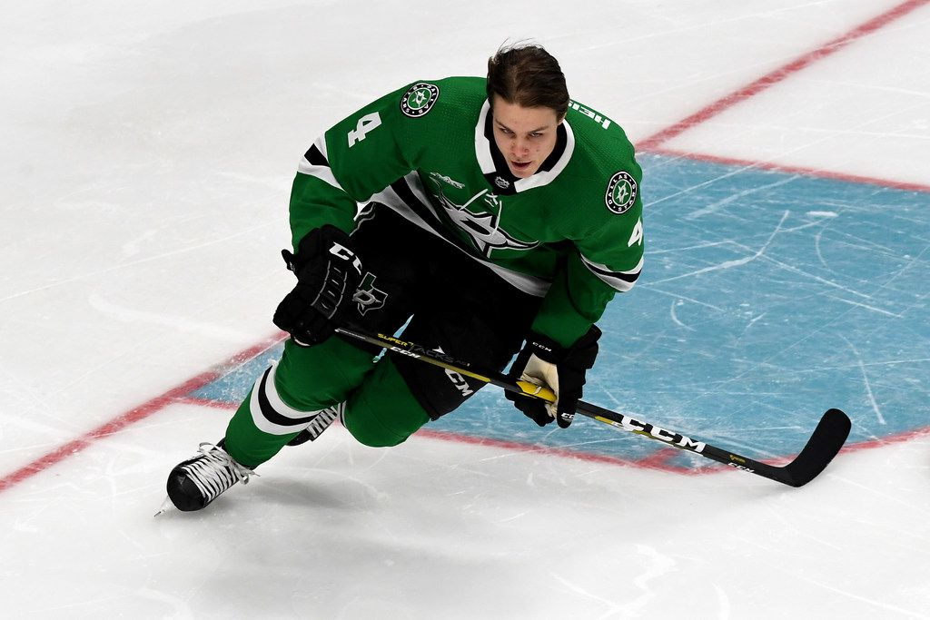 SAN JOSE, CA - JANUARY 25:  Miro Heiskanen #4 of the Dallas Stars competes in the Bridgestone NHL Fastest Skater during the 2019 SAP NHL All-Star Skills at SAP Center on January 25, 2019 in San Jose, California.  (Photo by Thearon W. Henderson/Getty Images)