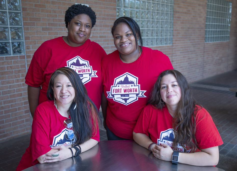 Pamela Young, standing left, lead criminal justice organizer at United Fort Worth, with fellow volunteers Cynthia Mancha seated left, Marilyn Davis, standing right, and Tara Wilson, seated right. United Fort Worth runs the Tarrant County Community Bail Fund. (Robert W. Hart/Special Contributor)