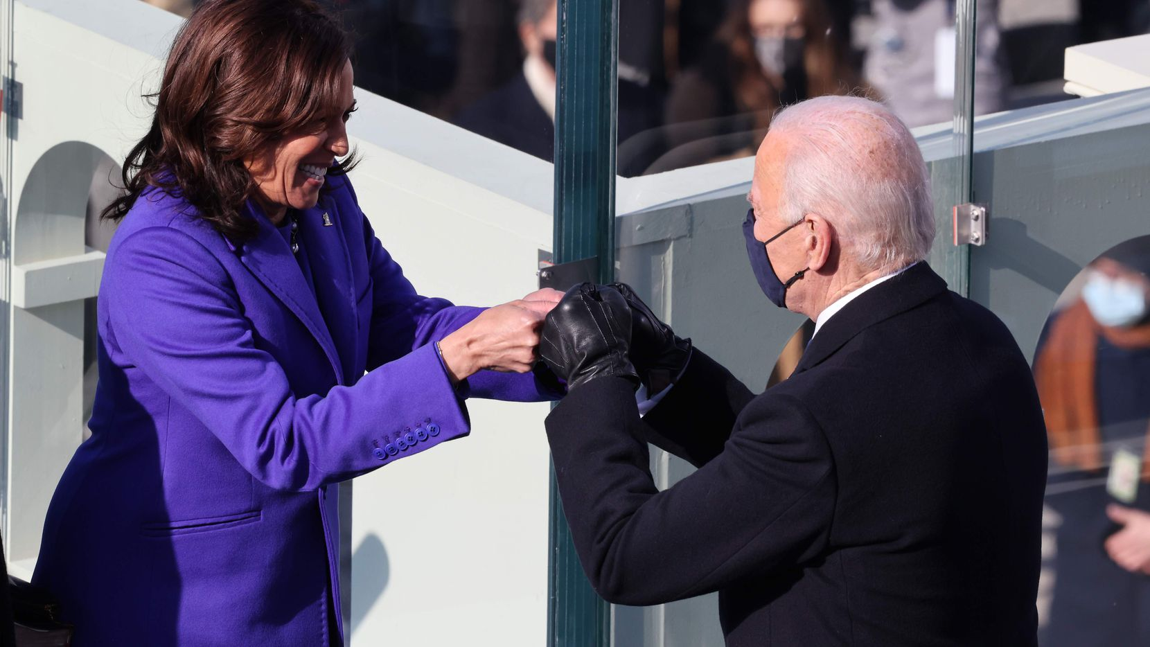 Vice President Kamala Harris and President-elect Joe Biden fist-bumped after Harris was sworn in, and just before Biden was, at the U.S. Capitol on Jan. 20.