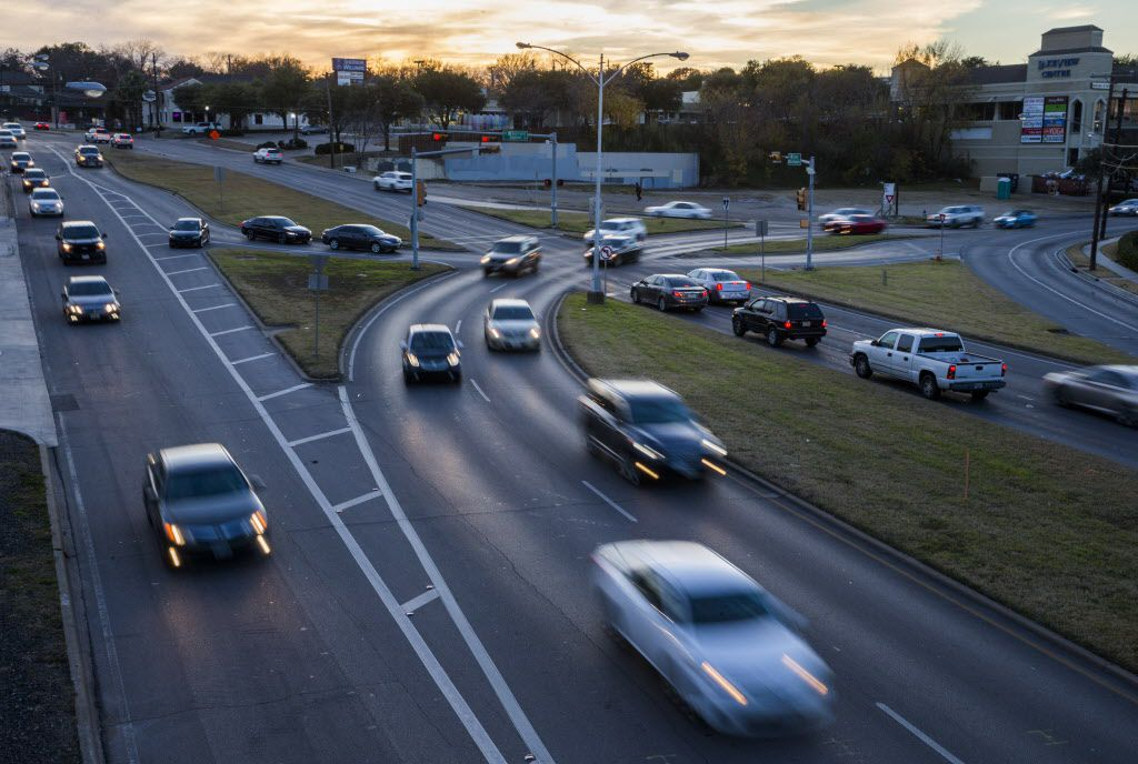 Vehicles drive through the East Grand intersection of Grand Avenue, Garland Road and Gaston Avenue in late November.