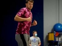 Dallas Mavericks guard Luka Doncic runs down the court during the first mandatory workout on July 1, 2020. Doncic and others played at the team's practice facility for the first time since the coronavirus pandemic started in Dallas. (Photo courtesy Dallas Mavericks)