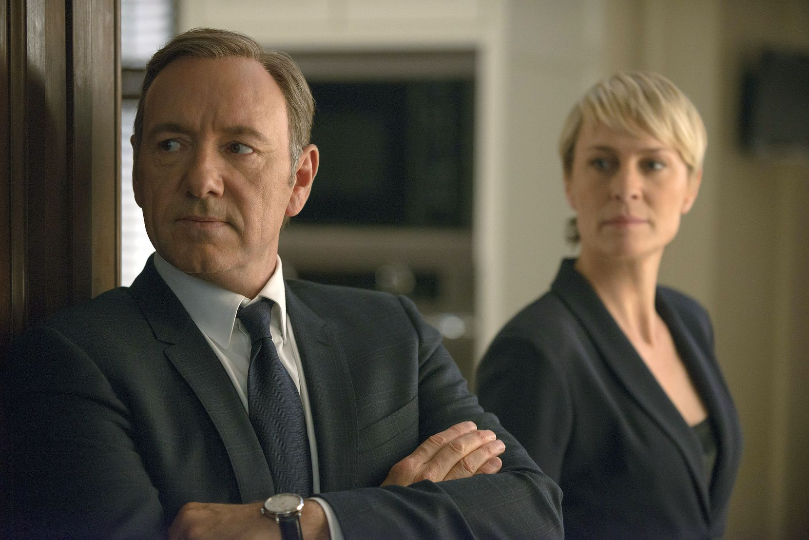 """Kevin Spacey as Francis Underwood, left, and Robin Wright as Clair Underwood in a scene from """"House of Cards."""""""