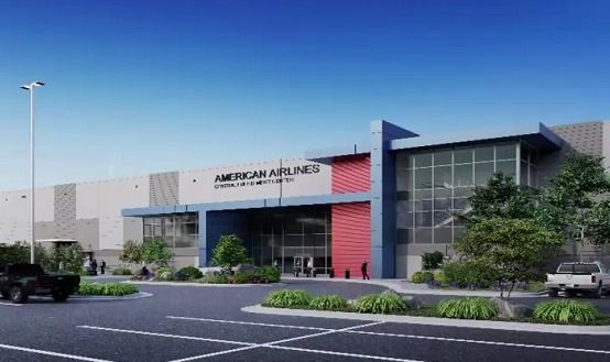 Rendering of a new American Airlines parts warehouse proposed at DFW International Airport.