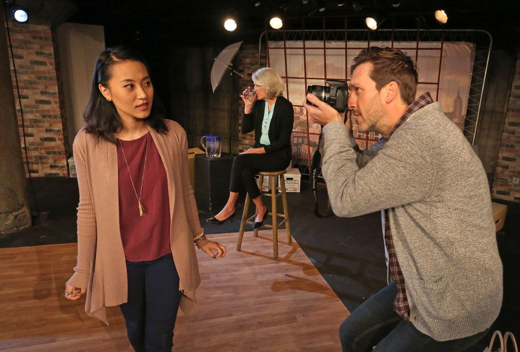 """Kristen Lee as """"Girlfriend,"""" left, Laura Jorgensen as """"Mother,"""" center, and Brandon J. Murphy as """"Calvin,"""" right, are pictured in """"Really"""" at Undermain Theatre in Dallas."""