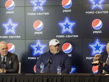 From right, Dallas Cowboys owner Jerry Jones, coach Mike McCarthy, and CEO Stephen Jones speak to media members during a pre-draft news conference at The Star in Frisco, Texas, on Tuesday, April 27, 2021.