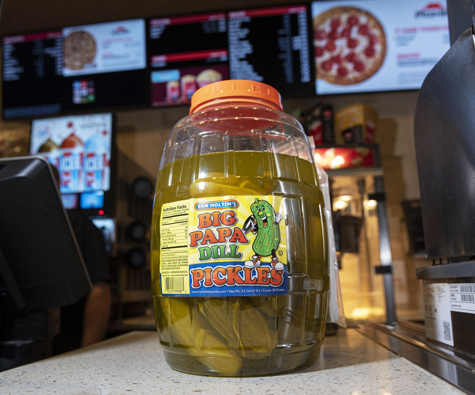 Big Papa Dill Pickles on sale at the Cinemark 17 IMAX movie theater in Dallas, on Sunday, Nov. 22, 2020.