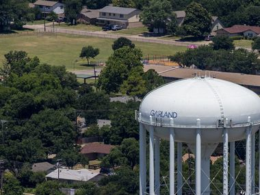 A Garland water tower in Garland, Texas, on Thursday, June 18, 2020. (Lynda M. Gonzalez/The Dallas Morning News)