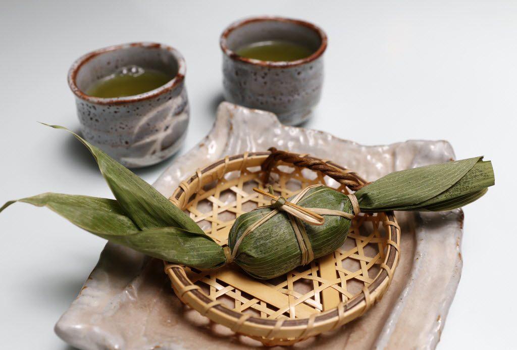Sasa dango, a dessert, with hot green tea at Yutaka Sushi Bistro