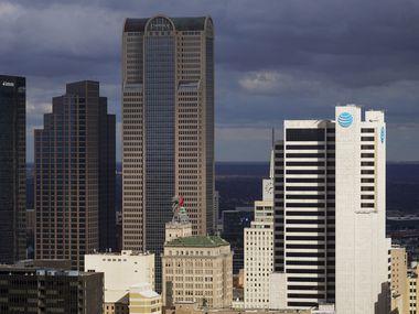 Comerica Bank tower (left center) and AT&T's headquarters are among the major corporate headquarters in downtown Dallas. Despite having a very competitive business tax structure, Texas is well-known for doling out tax abatements and other incentives to attract jobs and investment.