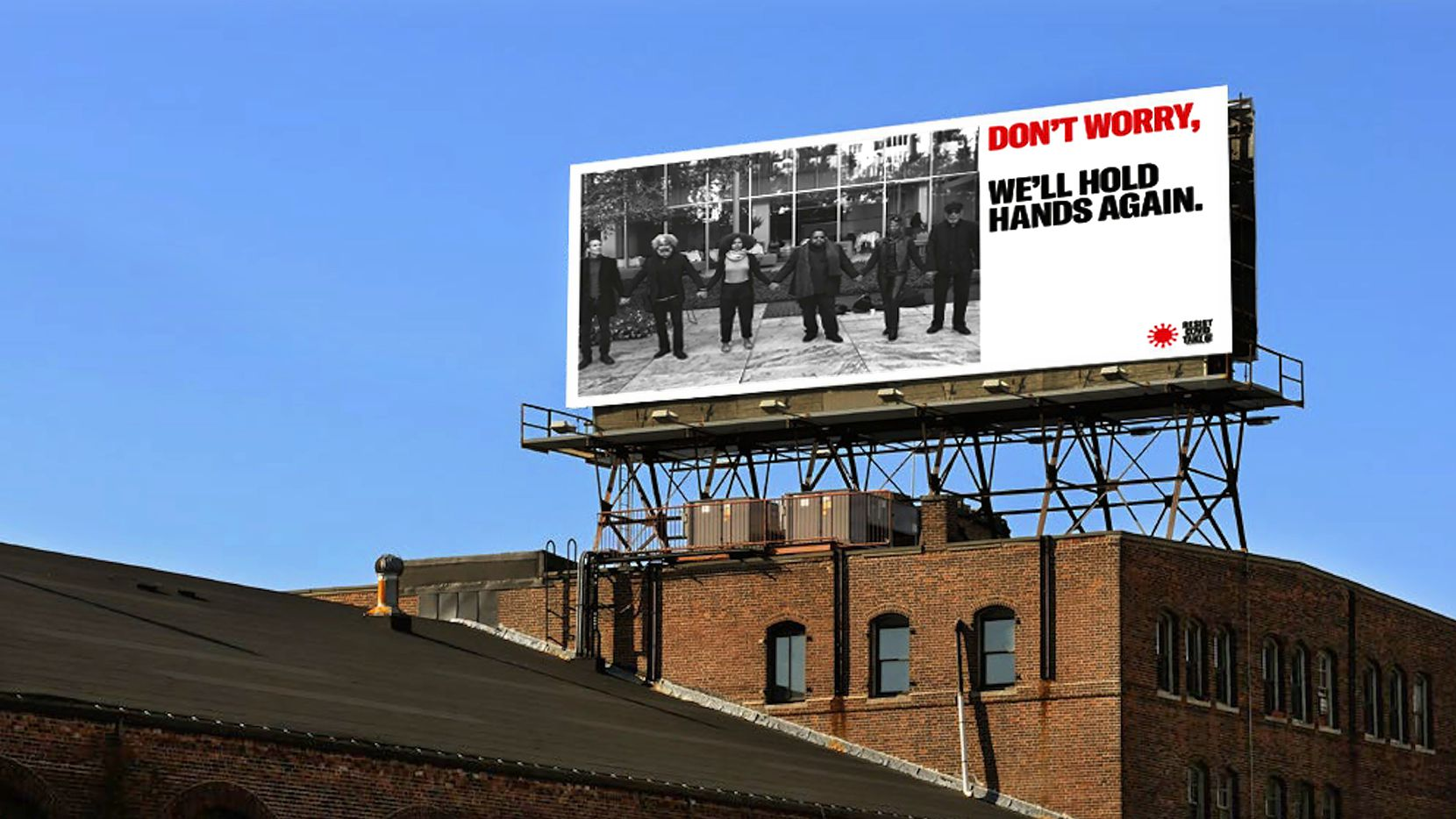 Billboard for 'Resist COVID Take 6!' project by Carrie Mae Weems which refers to social distancing guidelines and protective measures.  The project launched on August 17, 2020 in Dallas and Fort Worth.