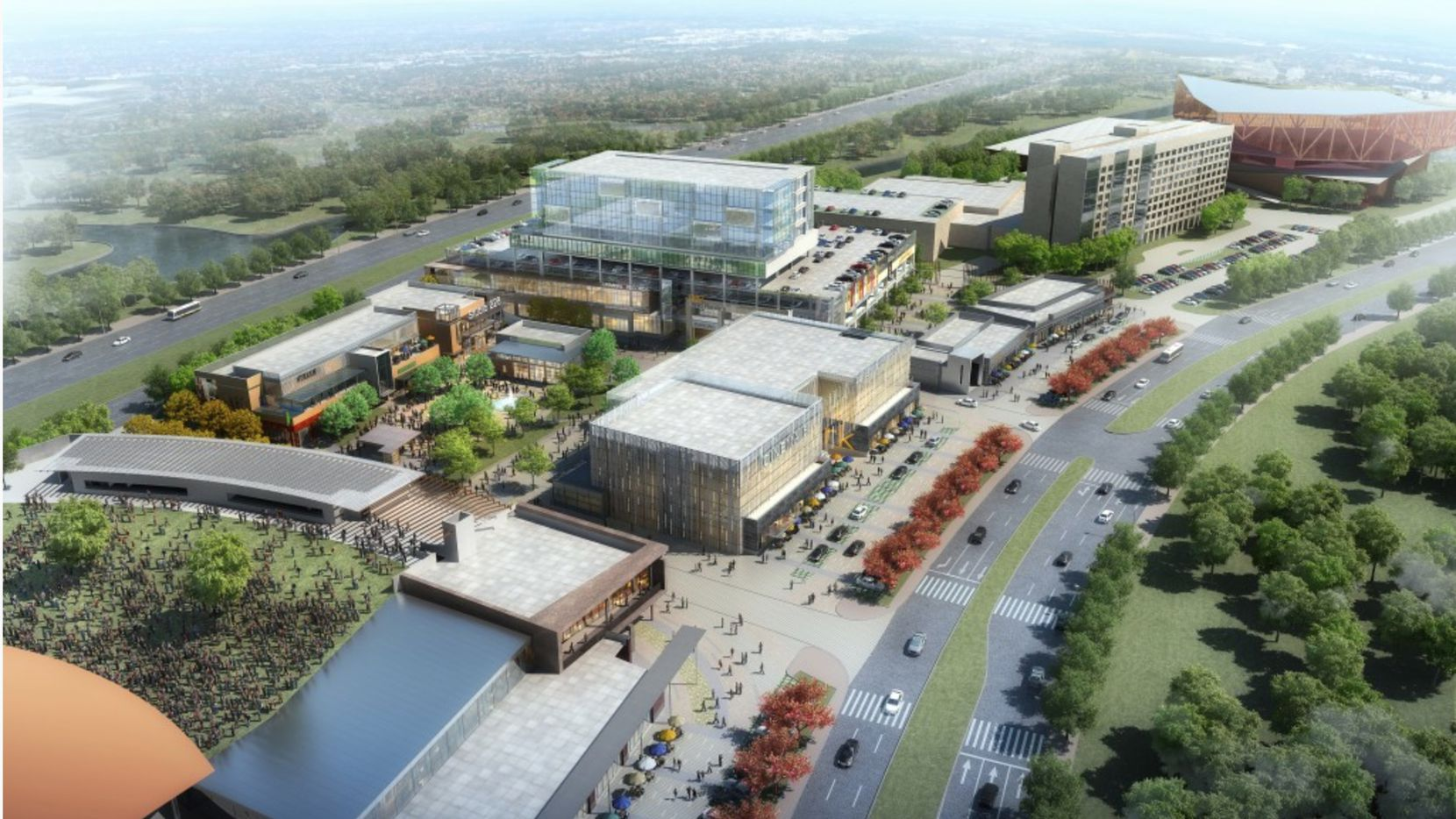 The 17-acre mixed-use Music Factory is under construction on S.H. 114 and will open next year.