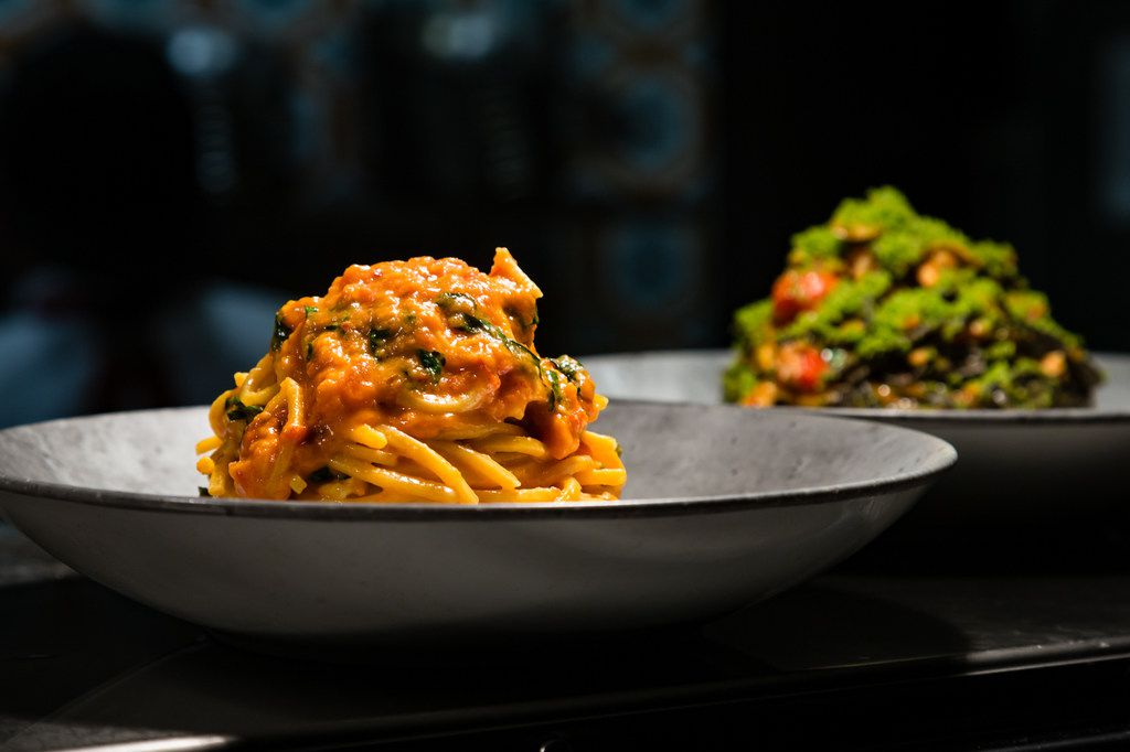 Chef Scott Conant's famous tomato and basil spaghetti is on the menu at his Masso Osteria restaurant in Las Vegas.