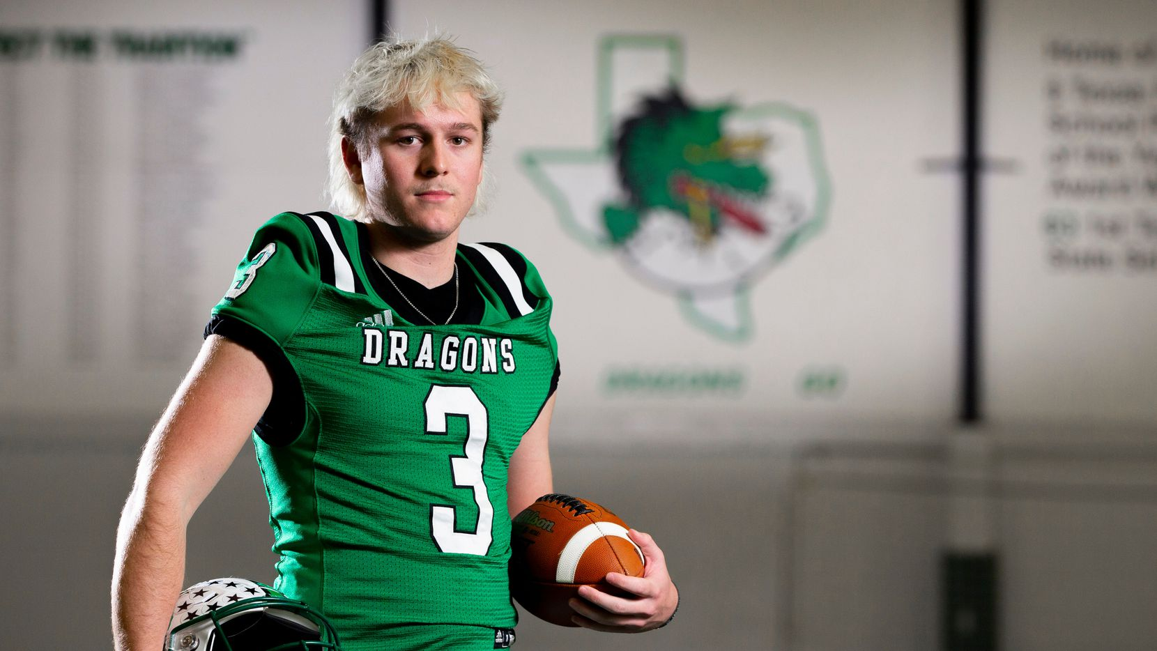 Southlake junior quarterback Quinn Ewers poses for a photo at Southlake High School, Tuesday, February 2, 2021.  Ewers is the No. 1 recruit in the country for the 2022 class and has committed to The Ohio State.