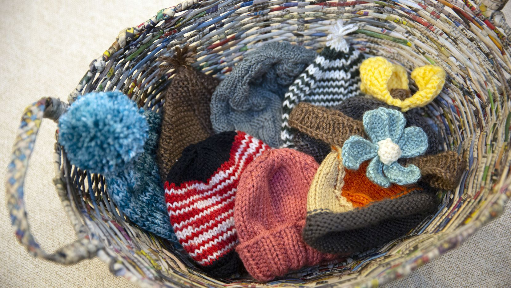 Members of the Roseman family have been knitting hats for newborns at Parkland Memorial Hospital during the COVID-19 pandemic.