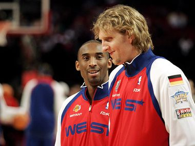 West's Kobe Bryant and Dirk Nowitzki before the 2006 NBA All Star game at the Toyota Center in Houston on Sunday, February 19, 2006. (Vernon Bryant/The Dallas Morning News)