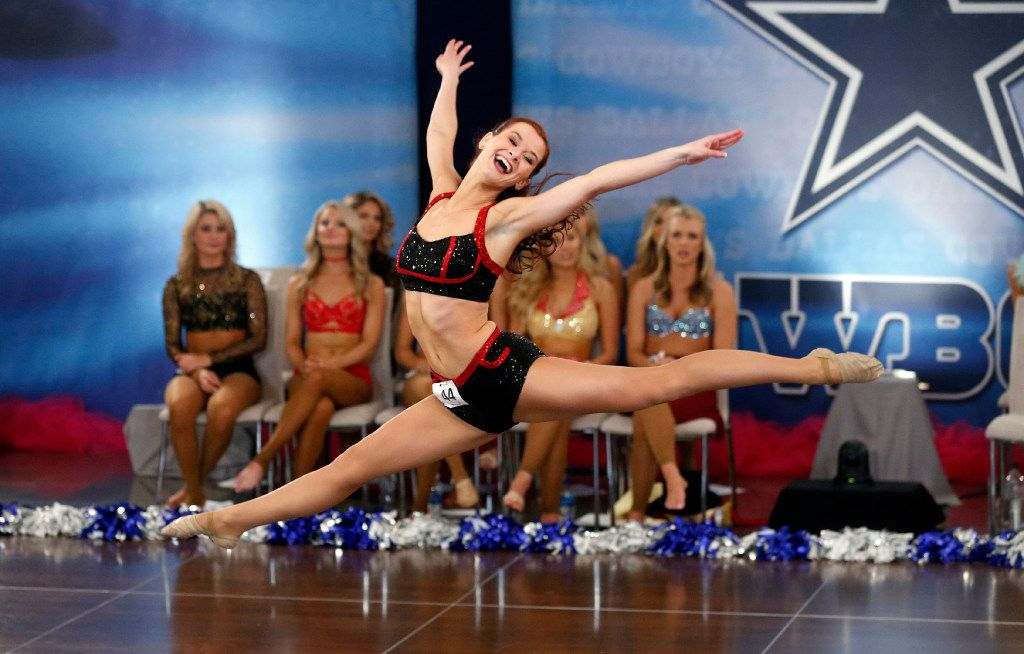 Rachel C of Sterling Heights, Mich., danced during the individual talent portion of tryouts for the Dallas Cowboys Cheerleaders on May 13, 2017, at  AT&T Stadium in Arlington.
