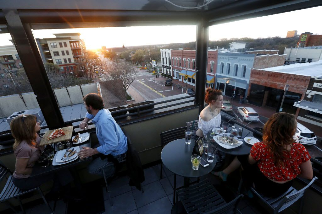 The rooftop bar at Urban Crust in downtown Plano