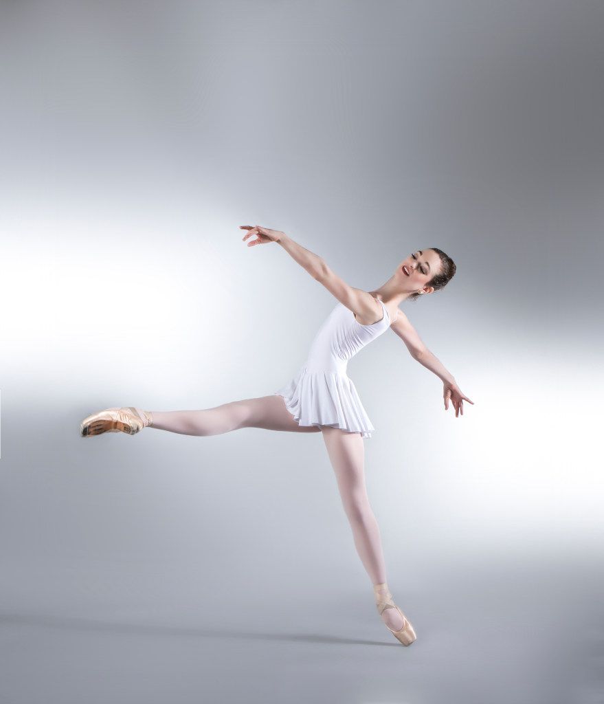 Avant Chamber Ballet company member Emily Dixon, in a moment from George Balanchine's Concerto Barocco.