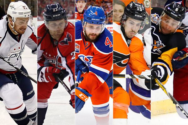 From left to right: Kevin Shattenkirk, Karl Alzner, Kris Russell, Michael Del Zotto and Trevor Daley.
