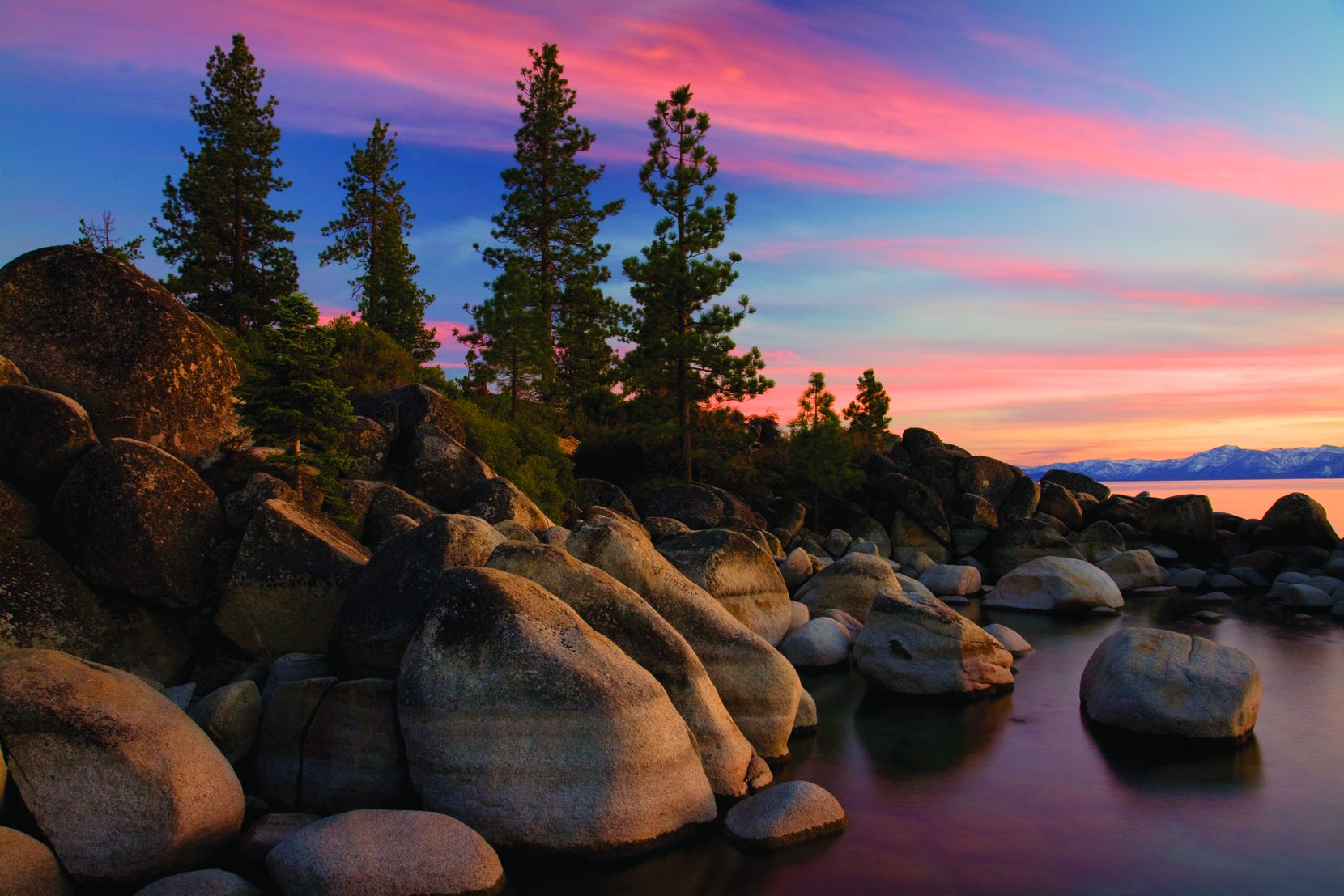 In the fall, time seems to stand still during sunsets at Sand Harbor State Park in Lake Tahoe.
