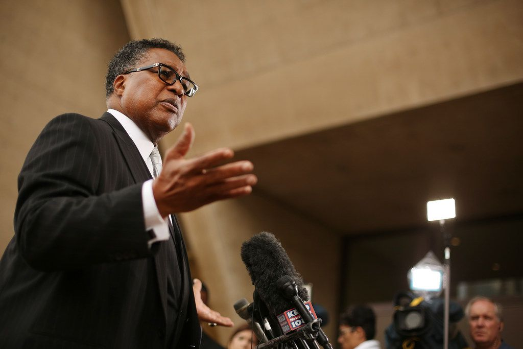 Dallas City council member Dwaine R. Caraway, of District 4, speaks during a press conference outside Dallas City Hall on Feb. 19, 2018.
