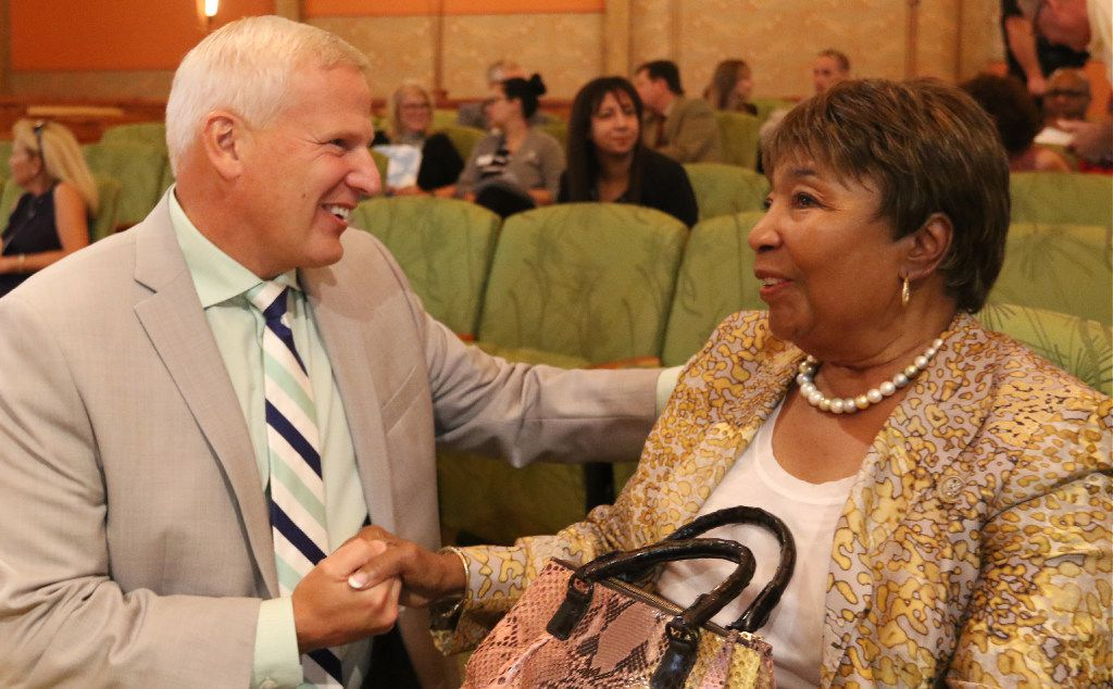Cedar Hill Mayor Bob Franke, left, talks with Congresswomen Eddie Bernice Johnson before the City council meeting in the T.W. Cannady Cedar Hill Room on Tuesday August 29, 2017 at the Cedar Hill Government Center on 285 Uptown Blvd in Cedar Hill, Texs.