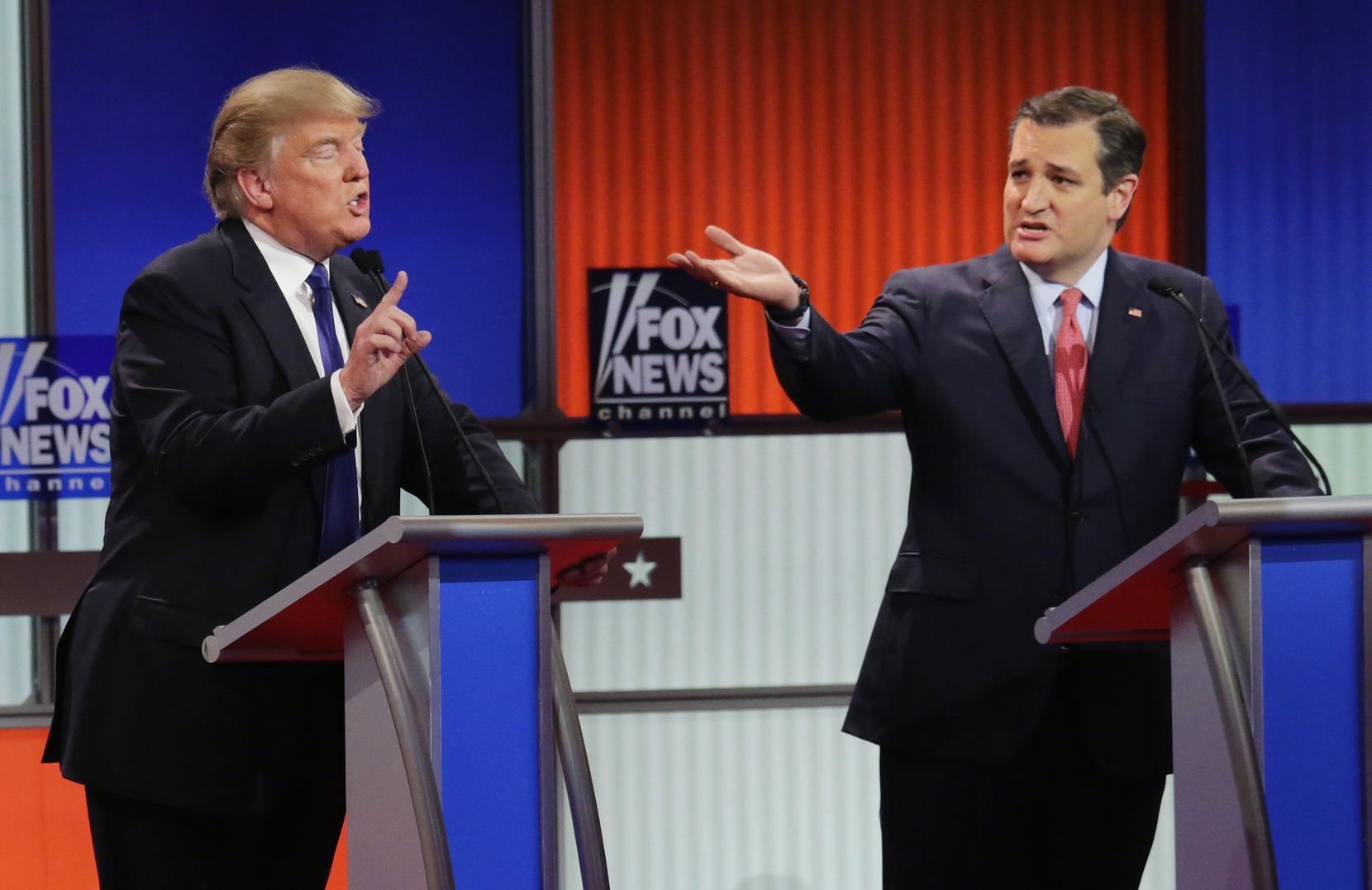 Donald Trump and Sen. Ted Cruz squabble during a Republican presidential debate March 3, 2016 in Detroit.