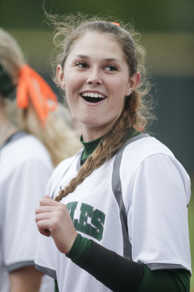 Prosper's Elizabeth Moffitt looks on before game one of a best of three series of a Class 6A bi-district playoff softball game against Flower Mound Marcus at Prosper High School, Thursday, April 29, 2021. (Brandon Wade/Special Contributor)