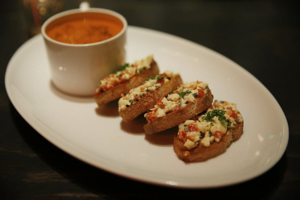 Toasted pimento cheese with cream of tomato soup