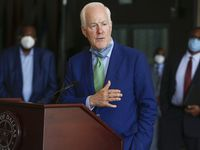 Sen. John Cornyn, R-Texas, speaks with media after a law enforcement roundtable on June 12, 2020 at City Hall in Dallas.