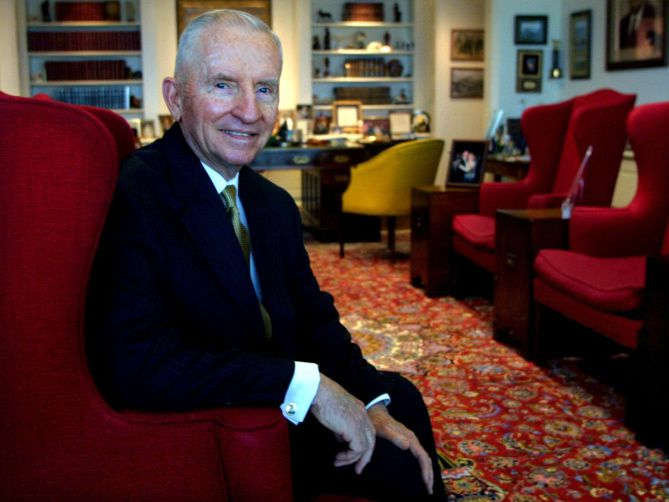 Ross Perot Sr.'s push in 1984 of a massive overhaul of the Texas school system in the state legislature is remembered as a monumental achievement, says Perot biographer Dave Lieber. Perot is shown here in a 2002 photo. He died in 2019.