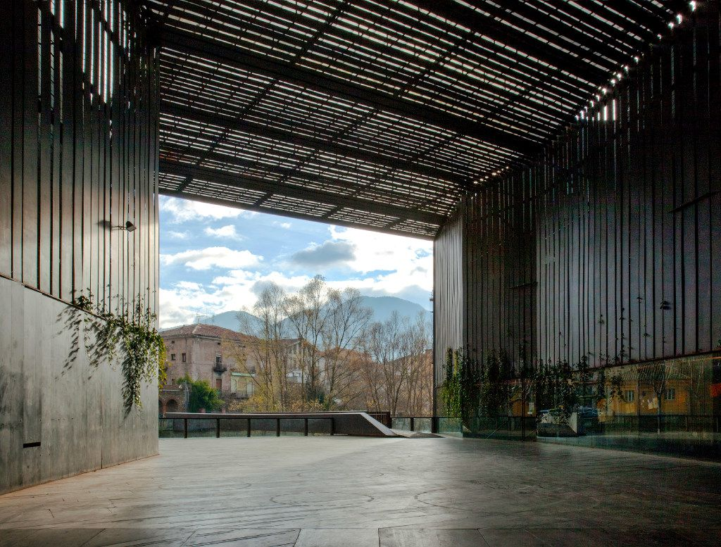 An undated handout photo of a view from inside the La Lira Theater Public Open Space, designed by RCR Arquitectes, Ripoll, Girona, Spain.