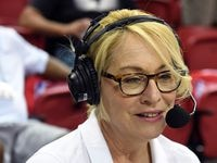 LAS VEGAS - JULY 7: ESPN reporter and analyst Doris Burke calls a game between the LA Clippers and Memphis Grizzlies during NBA Summer League play at the Thomas & Mack Center on July 7, 2019, in Las Vegas.