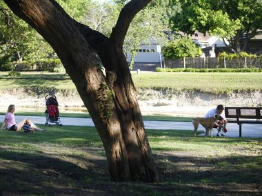 In this 2011 file photo, a family takes a break in the shade while walking the trail in a residential area that connects Huffhines Park with Duck Creek Linear Park in Richardson.