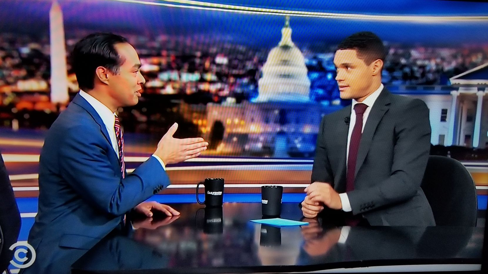 Julian Castro speaks with Trevor Noah on Comedy Central's The Daily Show on Nov. 6, 2019.