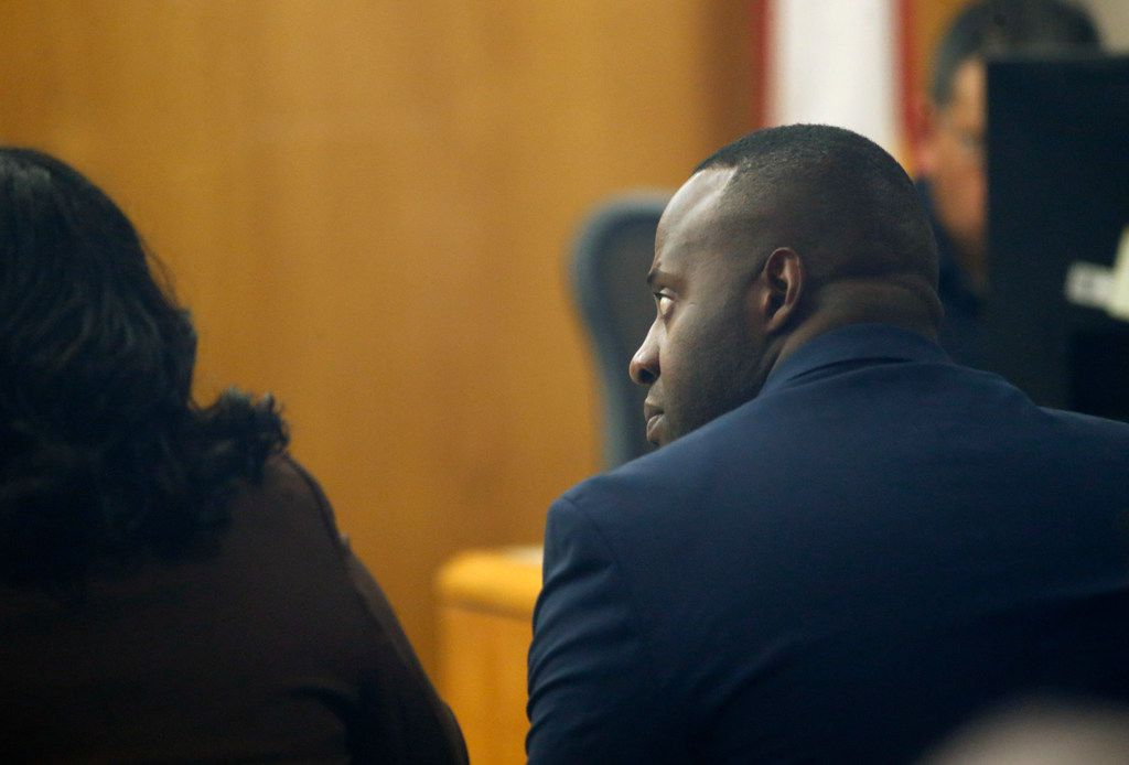 Former Mesquite police Officer Derick Wiley listened to testimony during his trial in the shooting of Lyndo Jones on Friday.