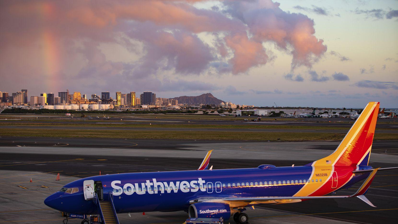 Southwest Airlines' first-ever flight to the Hawaiian Islands, aboard a Boeing 737-800, is shown on Feb. 5, 2019 at Daniel K. Inouye International Airport, in Honolulu, HI.