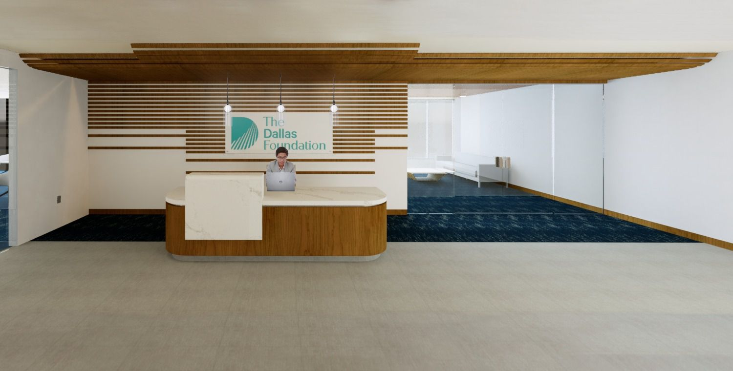 A rendering of The Dallas Foundation's offices at Water Cooler at Pegasus Park.