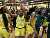 DeSoto High School forward Ari' Yanna Hines (24) celebrates the victory after the game as South Grand Prairie High School played DeSoto High School in a Class 6A semifinal girls basketball game played at Prosper High School on Saturday, March 6, 2021.