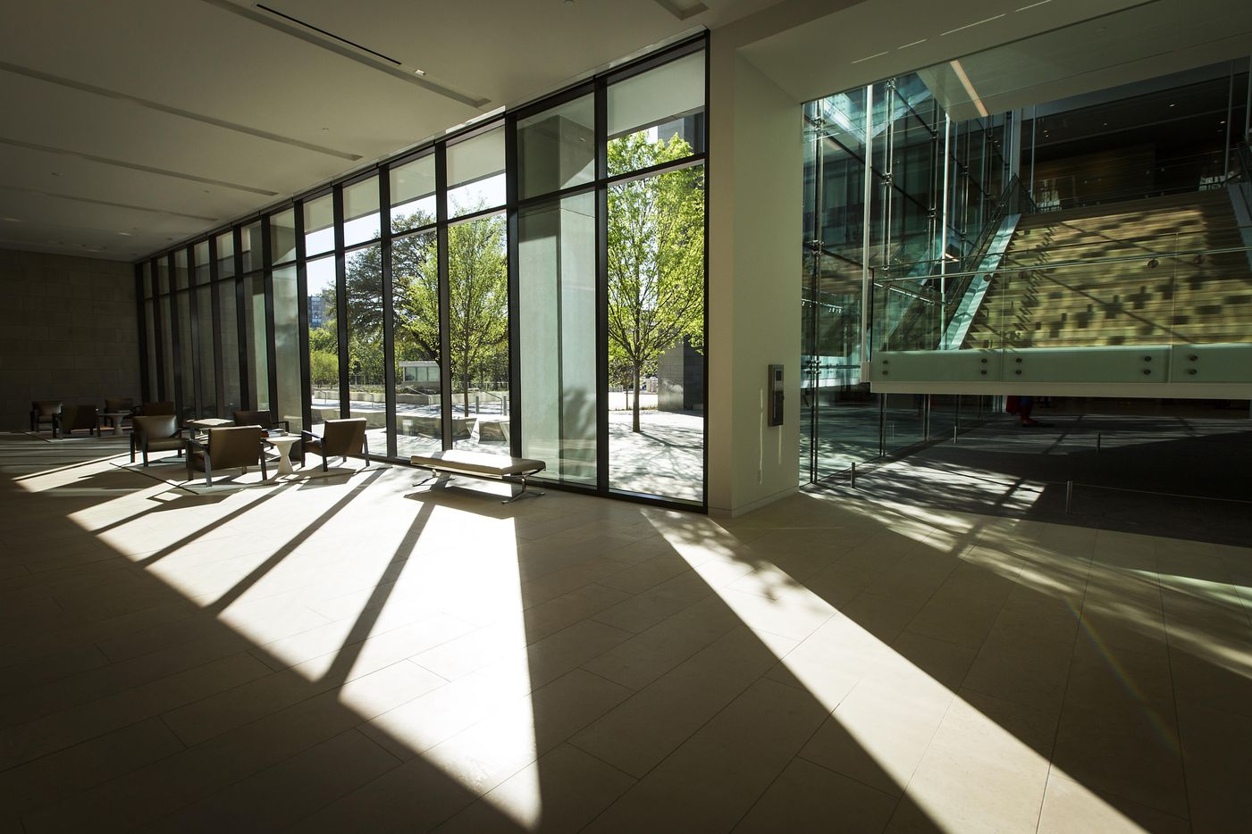 Sunlight streams into the lobby of the new headquarters for the Perot family overlooking Turtle Creek.
