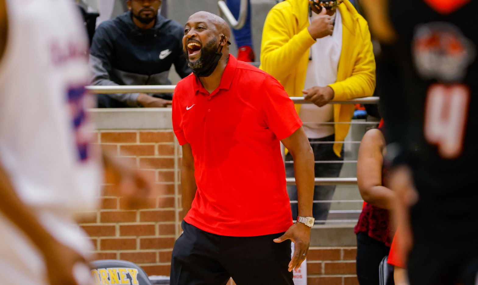 Kimball coach Nicke Smith during the overtime of a boys basketball UIL Class 5A Region II playoff game against Lancaster in Forney on Friday, March 5, 2021. (Juan Figueroa/ The Dallas Morning News)