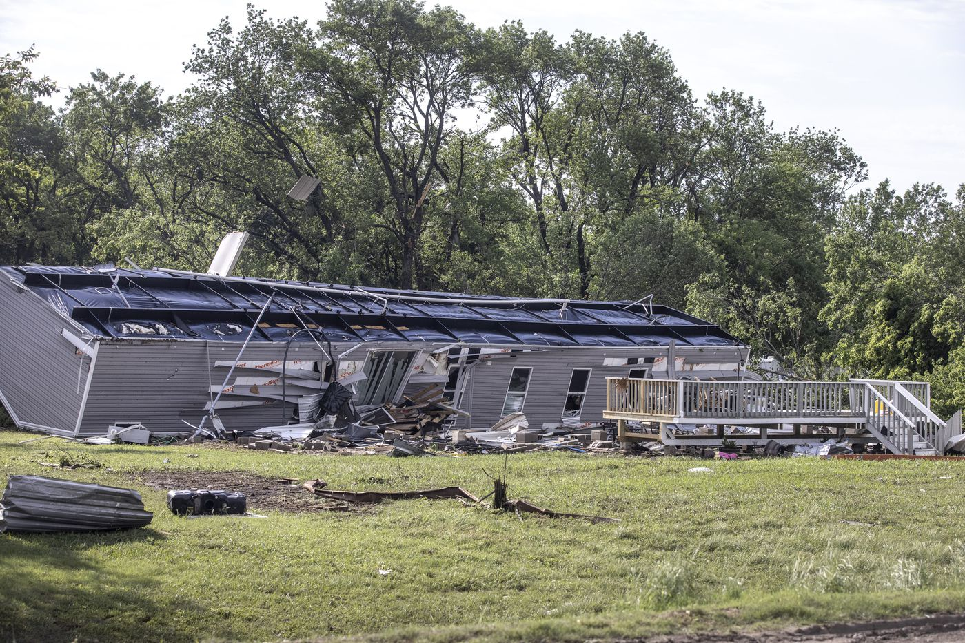 A mobile home was turned upside down in the aftermath of a Monday night tornado that touched down just south of in Waxahachie, Texas, on Tuesday, May 4, 2021. (Lynda M. González/The Dallas Morning News)