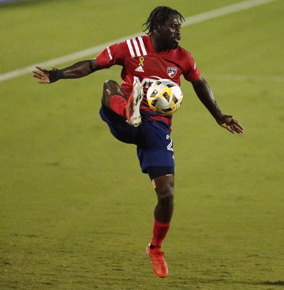 FC Dallas midfielder Ema Twumasi (22) stops a pass during the first half as FC Dallas hosted Sporting Kansas City at Toyota Stadium in Frisco on Wednesday, September 29, 2021. (Stewart F. House/Special Contributor)